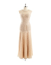 Sue Wong Capped Sleeve Lace Mermaid Gown Antique Champagne