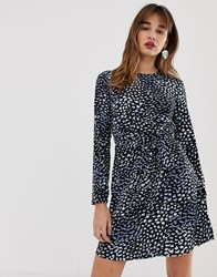 Warehouse Wrap Skater Dress With Tie Detail In Smudge Spot Print Multi