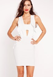Missguided Frill Side Cut Out Bodycon Dress White White