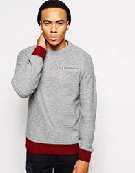 Bellfield Crew Neck Ladder Stitch With Zip Pocket Greymarl