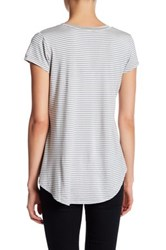 H By Bordeaux Striped V Neck Tee Gray