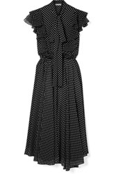 Michael Kors Collection Ruffled Polka Dot Silk Georgette Midi Dress Black