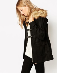 Vero Moda Military Double Buckle Coat With Faux Fur Hood Black