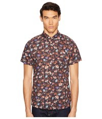 Todd Snyder Short Sleeve Floral Print Shirt Brown Men's Short Sleeve Button Up