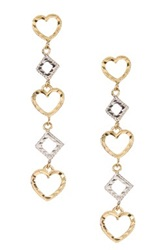 Candela 14K Yellow And White Gold Alternating Open Heart And Square Dangle Earrings In Gift Box Metallic