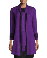 Ming Wang Neck Tie Contrast Trim Jacket Purple Black