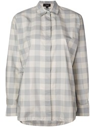 Theory Checked Shirt Blue