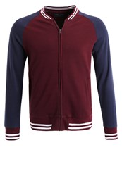 Pier One Tracksuit Top Burgundy Navy Optic White Bordeaux