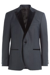 Baldessarini Virgin Wool Blazer With Velvet Blue