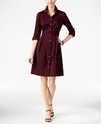 Charter Club Fit And Flare Shirtdress Only At Macy's Cranberry