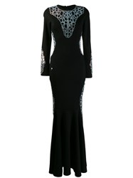 Philipp Plein Stretch Jersey Maxi Dress Black