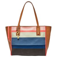 Fossil Emma Leather Tote Bag Bright Stripe
