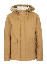 Topman Red Mustard Faux Shearling Lined Cropped Parka