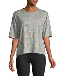 Kendall Kylie Distressed Linen Short Sleeve Crewneck Tee Gray