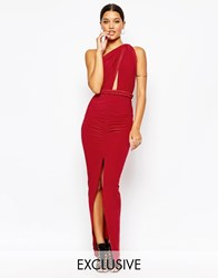 Club L Multi Way Club Dress With Ruched Skirt Red