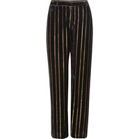 River Island Womens Black Metallic Stripe Wide Leg Trousers