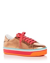 Marc Jacobs Women's Empire Leather Lace Up Platform Sneakers Rose Gold
