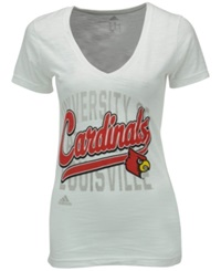 Adidas Women's Louisville Cardinals Script Tail Shadow T Shirt White