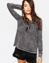 Blend She Acid Wash Long Sleeve Shirt Grey