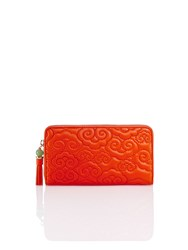 Shanghai Tang Cloud Quilted Leather Zip Around Wallet Orange Red