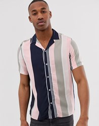 Burton Menswear Shirt In Pink And Navy Stripe