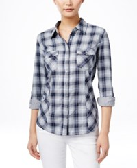 Styleandco. Style And Co. Button Front Plaid Shirt Only At Macy's Charleston Plaid