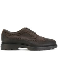 Hogan Chunky Brogues Men Leather Suede Rubber 6.5 Brown