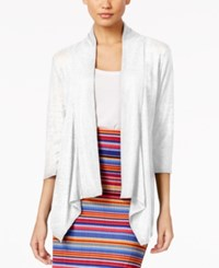 Ny Collection Ribbed Illusion Cardigan Bright White