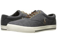 Polo Ralph Lauren Vaughn Black Dark Carbon Grey End Canvas Sport Suede Men's Shoes Gray