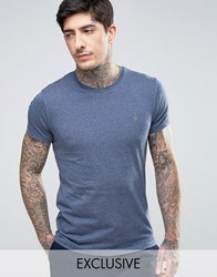 Farah Twisted Yarn Marl T Shirt Exclusive In Navy Navy
