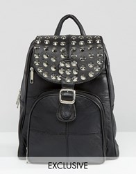 Reclaimed Vintage Studded Leather Backpack Black