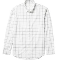 Folk Storm Windowpane Checked Cotton Voile Shirt White