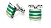 Fred Bennett Green Shades Stripe Cufflinks Silver