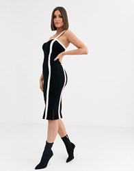 River Island Bodycon Midi Dress With Contrast Panels In Black