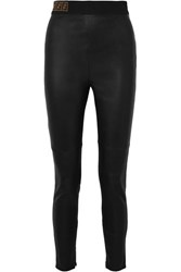 Fendi Intarsia Trimmed Leather Skinny Pants Black