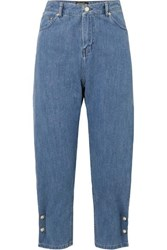 Mother Of Pearl Kyra Faux Embellished High Rise Tapered Jeans Mid Denim