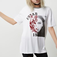 River Island Womens Petite White Tiger Face Print T Shirt