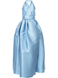 Alexis Mabille Backless Flared Gown Polyester Silk Blue