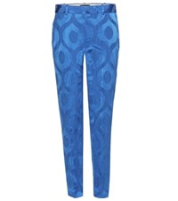 Isabel Marant Syd Jacquard Satin Trousers Blue