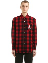 Mastermind World Skull Checked Cotton Flannel Shirt Red Black