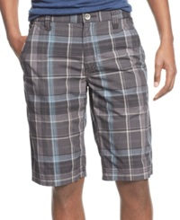 Inc International Concepts Tray Plaid Shorts Black Combo