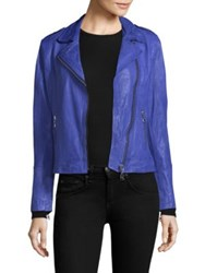 Doma Classic Leather Moto Jacket Electric Blue