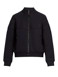 Balenciaga Zip Up Wool Blend Sweatshirt Navy