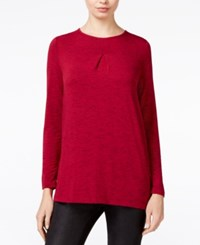 Kensie Space Dyed Knit Top Rspby Comb