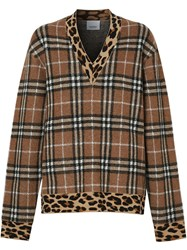 Burberry Vintage Check Leopard Trimmed Sweater Neutrals