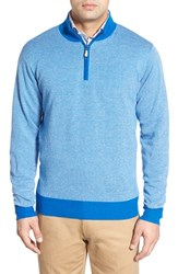 Men's Peter Millar Cotton And Cashmere Quarter Zip Sweater Admiral Blue