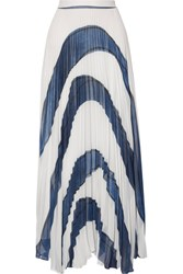 Alice Olivia Shannon Asymmetric Pleated Printed Georgette Maxi Skirt White
