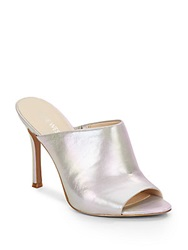 Nine West Funny How Metallic Leather Mules Silver