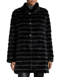 Belle Fare Two Tone Rabbit Fur Reversible Coat Grey Black