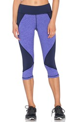 Pink Lotus Lotus Colorblock Capri Legging Purple
